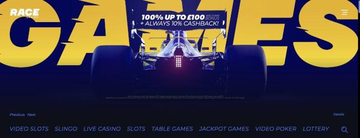 race casino homepage