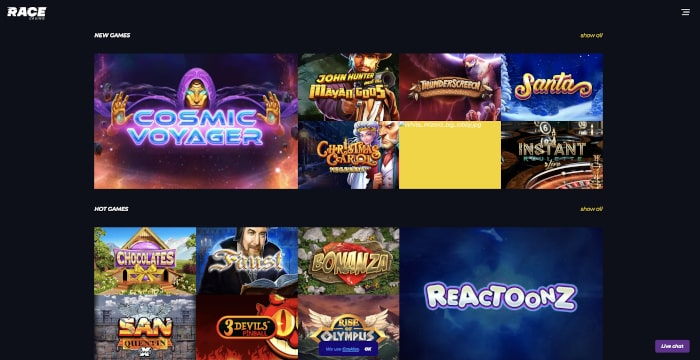 new games at race casino