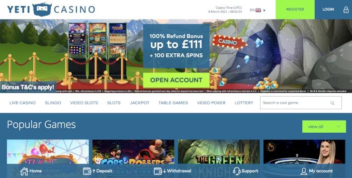yeti casino main page