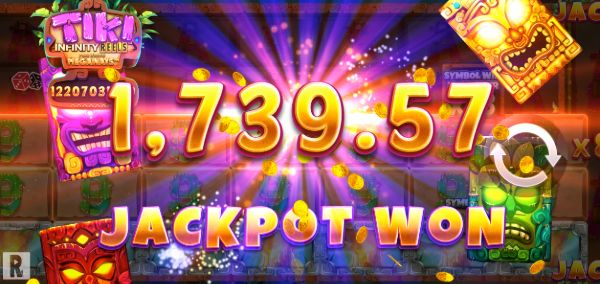 tiki infinity reels jackpot won