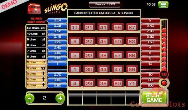 deal or no deal slingo basegame