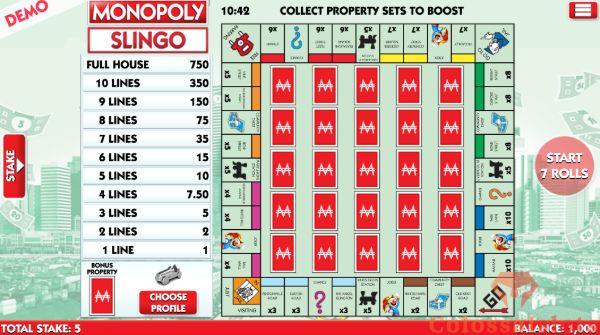 Monopoly Slingo basegame