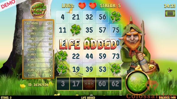 Slingo Lucky Streak life added