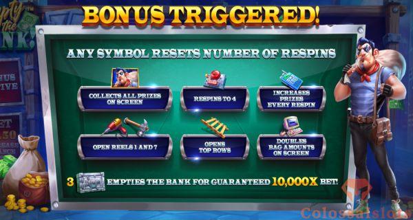 empty the bank bonus triggered