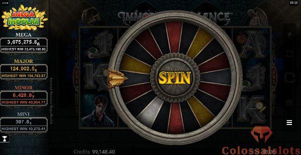 Immortal Romance Mega Moolah Jackpot wheel of fortune