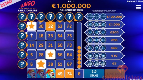 Slingo Millionaire symbols