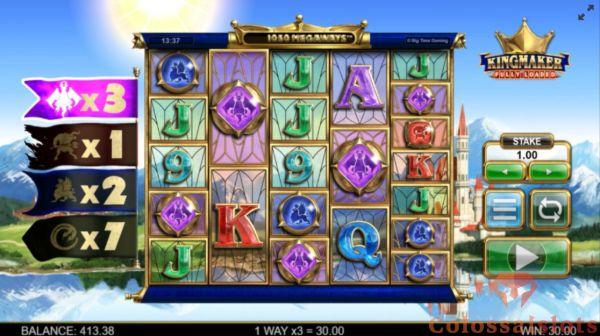 kingmaker fully loaded megaways basegame